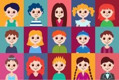 Grupo de avatars dos desenhos animados Fotografia de Stock