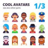 Grupo de avatars lisos frescos Foto de Stock