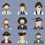 Grupo de avatars pirata Fotografia de Stock