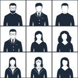 Grupo de avatars preto e branco Fotografia de Stock