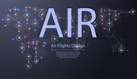 Grupo de aviões que voam sobre o mapa do mundo Destinos do voo plano A aviação distribui o conceito ilustração do vetor
