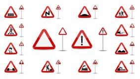 Grupo de aviso do sinal No triângulo vermelho são os tipos diferentes esboçado de sinais especiais para motoristas Ilustração do  ilustração stock