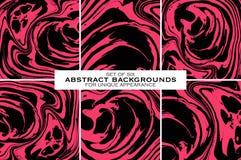 Grupo de bachgrounds abstratos monocromáticos pretos e cor-de-rosa Vetor IL Imagem de Stock