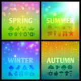 Grupo de backgound colorido das estações com ícones Fotografia de Stock Royalty Free