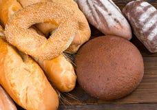 Grupo de bagels, de baguettes e de nacos Foto de Stock Royalty Free