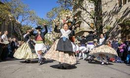 Grupo de bailarines en Valencia, España Imagen de archivo