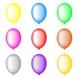 Grupo de balões coloridos isolados no fundo branco para seu projeto Ilustração do vetor ilustração do vetor