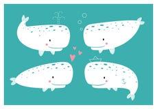 Grupo de baleias bonitos ilustração royalty free