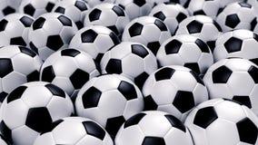 Grupo de balones de fútbol Foto de archivo