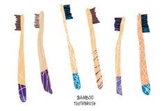 Grupo de bambu das escovas de dentes Ilustração do vetor ilustração stock