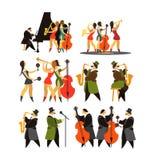 Grupo de bandas de jazz ilustração do vetor