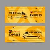 Grupo de bandeira do serviço de entrega expressa, cartaz, inseto Moldes da disposição do negócio da camionete de entrega ilustração do vetor