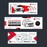 Grupo de bandeira do serviço de reparação de automóveis, cartaz, inseto Moldes da disposição da empresa de serviços do carro Fotografia de Stock
