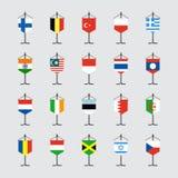 Grupo de bandeira nacional com ilustração do suporte Foto de Stock