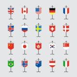 Grupo de bandeira nacional com ilustração do vetor do suporte Fotografia de Stock Royalty Free