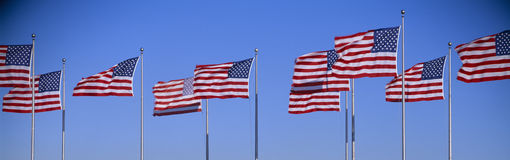 Grupo de bandeiras americanas que acenam, Liberty State Park, New-jersey Foto de Stock Royalty Free