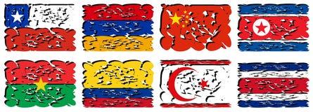 Grupo de bandeiras artísticas do mundo isolado Imagem de Stock Royalty Free