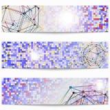 Grupo de bandeiras científicas da tecnologia dos moldes Gráficos à moda modernos ilustração royalty free
