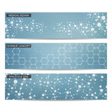 Grupo de bandeiras científicas modernas ADN da estrutura da molécula e neurônios abstraia o fundo Medicina, ciência, tecnologia Imagem de Stock Royalty Free