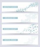 Grupo de bandeiras científicas modernas ADN da estrutura da molécula e neurônios abstraia o fundo Medicina, ciência, tecnologia ilustração do vetor