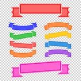 Grupo de bandeiras coloridas da fita Com espaço para o texto Uma ilustração lisa simples do vetor isolada em um fundo transparent Imagem de Stock