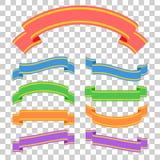 Grupo de bandeiras coloridas da fita Com espaço para o texto Uma ilustração lisa simples do vetor isolada em um fundo transparent Foto de Stock Royalty Free