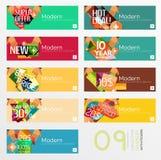 Grupo de bandeiras com etiquetas, etiquetas e elementos Imagens de Stock Royalty Free