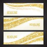 Grupo de bandeiras com tema dourado dos confetes ilustração royalty free