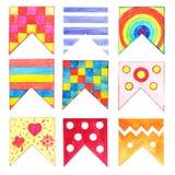 Grupo de 9 bandeiras da aquarela isoladas no fundo branco Foto de Stock Royalty Free