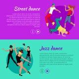 Grupo de bandeiras da Web do vetor da dança no projeto liso ilustração do vetor