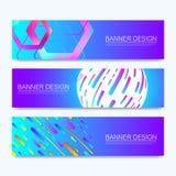 Grupo de bandeiras da Web do vetor de tamanhos padrão para a venda com um lugar para o texto Moldes horizontais com os hexágonos, ilustração stock