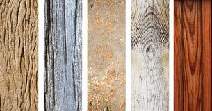 Grupo de bandeiras de madeira com textura de madeira velha Foto de Stock Royalty Free