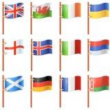Grupo de bandeiras de ondulação Foto de Stock Royalty Free