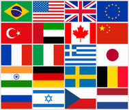 Grupo de bandeiras de país populares Imagem de Stock Royalty Free
