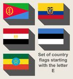Grupo de bandeiras de país que olham fixamente com E Foto de Stock Royalty Free