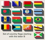 Grupo de bandeiras de país que olham fixamente com a letra B Imagens de Stock