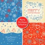 Grupo de bandeiras do feriado do Natal Coleção de elementos bonitos do Natal, fundos, testes padrões ilustração stock