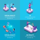 Grupo de 360 bandeiras do quadrado da realidade virtual gaming ilustração stock