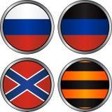 Grupo de bandeiras e de fita georgievsky nos cyrcles Fotos de Stock Royalty Free