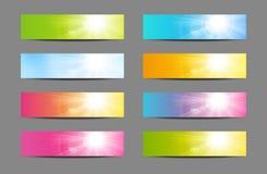Grupo de bandeiras ensolaradas ilustração stock