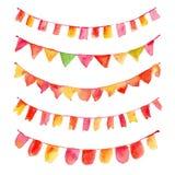 Grupo de bandeiras festivas da aquarela colorida Fotos de Stock