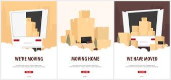 Grupo de bandeiras home moventes Caminhão movente com caixas Ilustração do estilo dos desenhos animados do vetor ilustração do vetor
