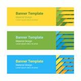 Grupo de bandeiras horizontais coloridas modernas do vetor em um estilo material do projeto Pode ser usado como um molde do negóc Imagem de Stock