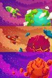 Grupo de bandeiras horizontais com fantasia dos desenhos animados dos planetas estrangeiros ilustração royalty free