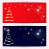 Grupo de bandeiras horizontais do Natal ou do ano novo efervescentes com flocos de neve ilustração stock