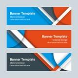 Grupo de bandeiras horizontais modernas do vetor em um estilo material do projeto Pode ser usado como um molde do negócio, em um  Imagens de Stock