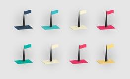 Grupo de bandeiras isométricas da cor ilustração stock