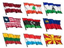 Grupo de bandeiras nacionais Fotografia de Stock Royalty Free