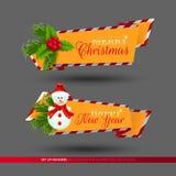 Grupo de bandeiras por feriados do Natal e do ano novo Foto de Stock