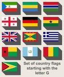 Grupo de bandeiras que começam com G Foto de Stock Royalty Free